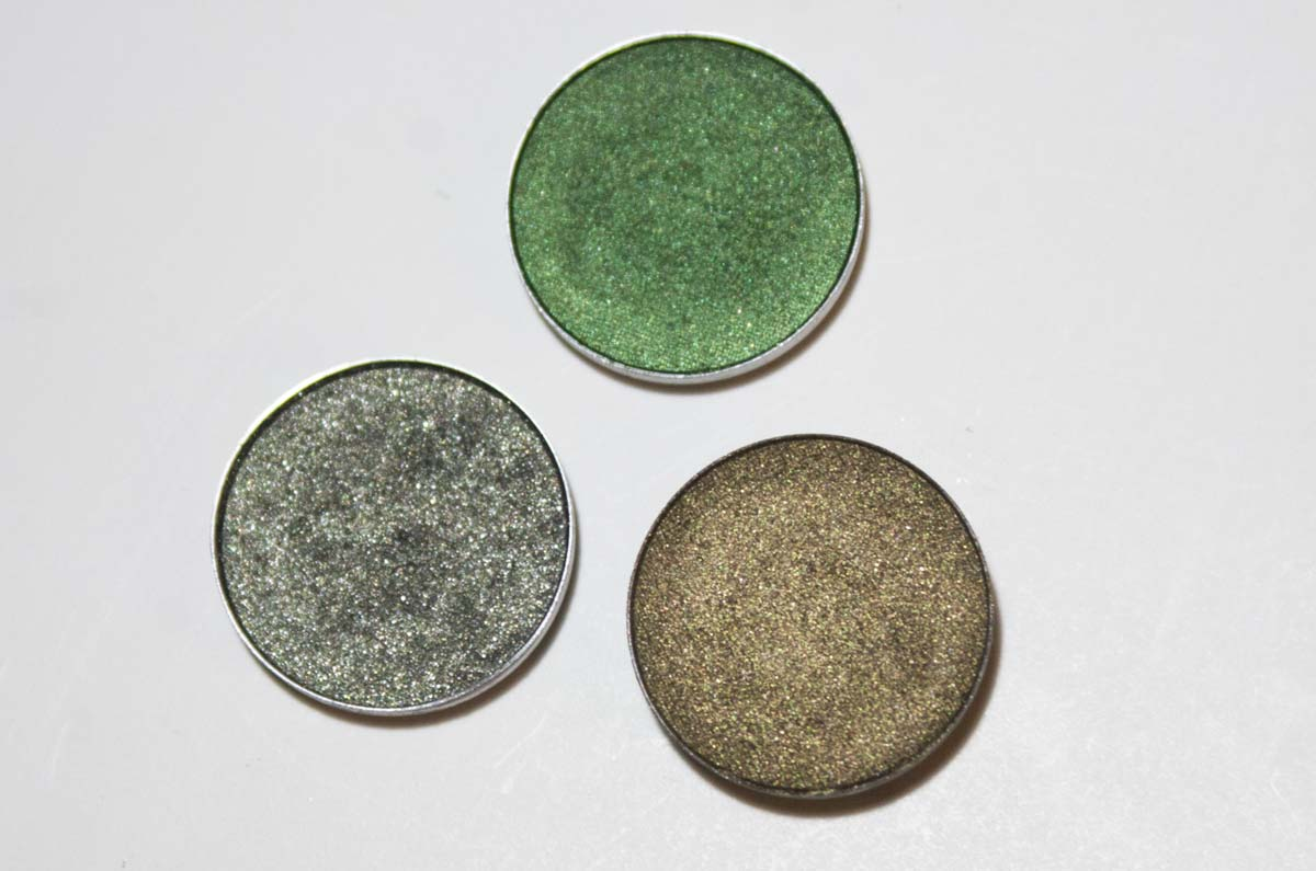 mac green eyeshadows in their pans