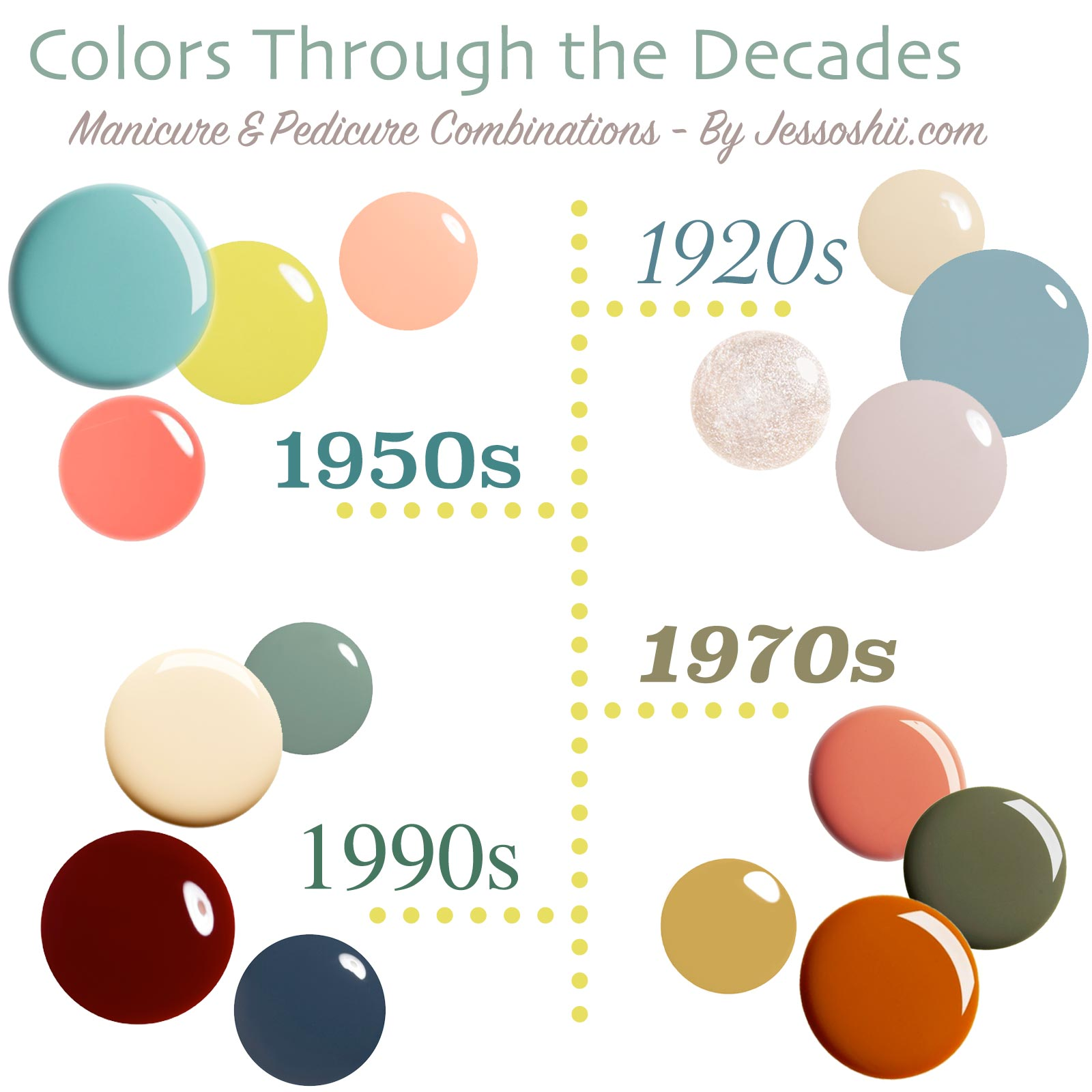 nail polish color palette by the decade