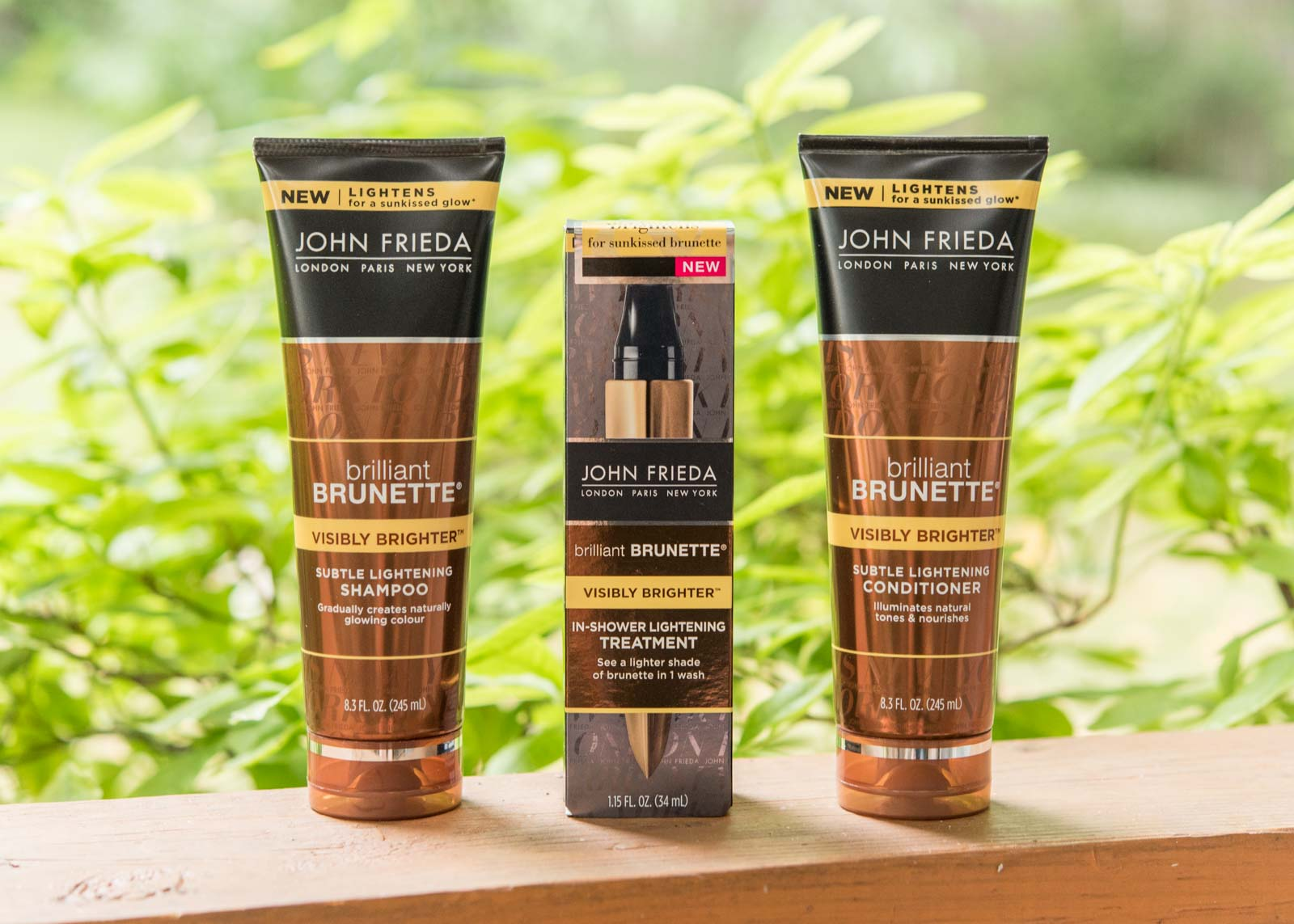 John Frieda® Brilliant Brunette® Visibly Brighter™ Shampoo, Conditioner, and Treatment