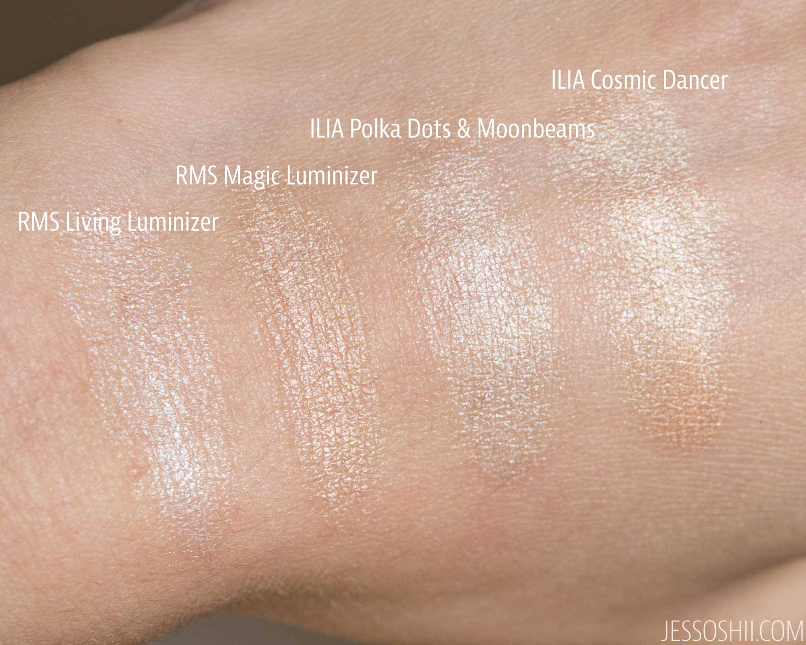 ILIA Beauty Illuminators swatches compared to RMS Beauty Luminizers